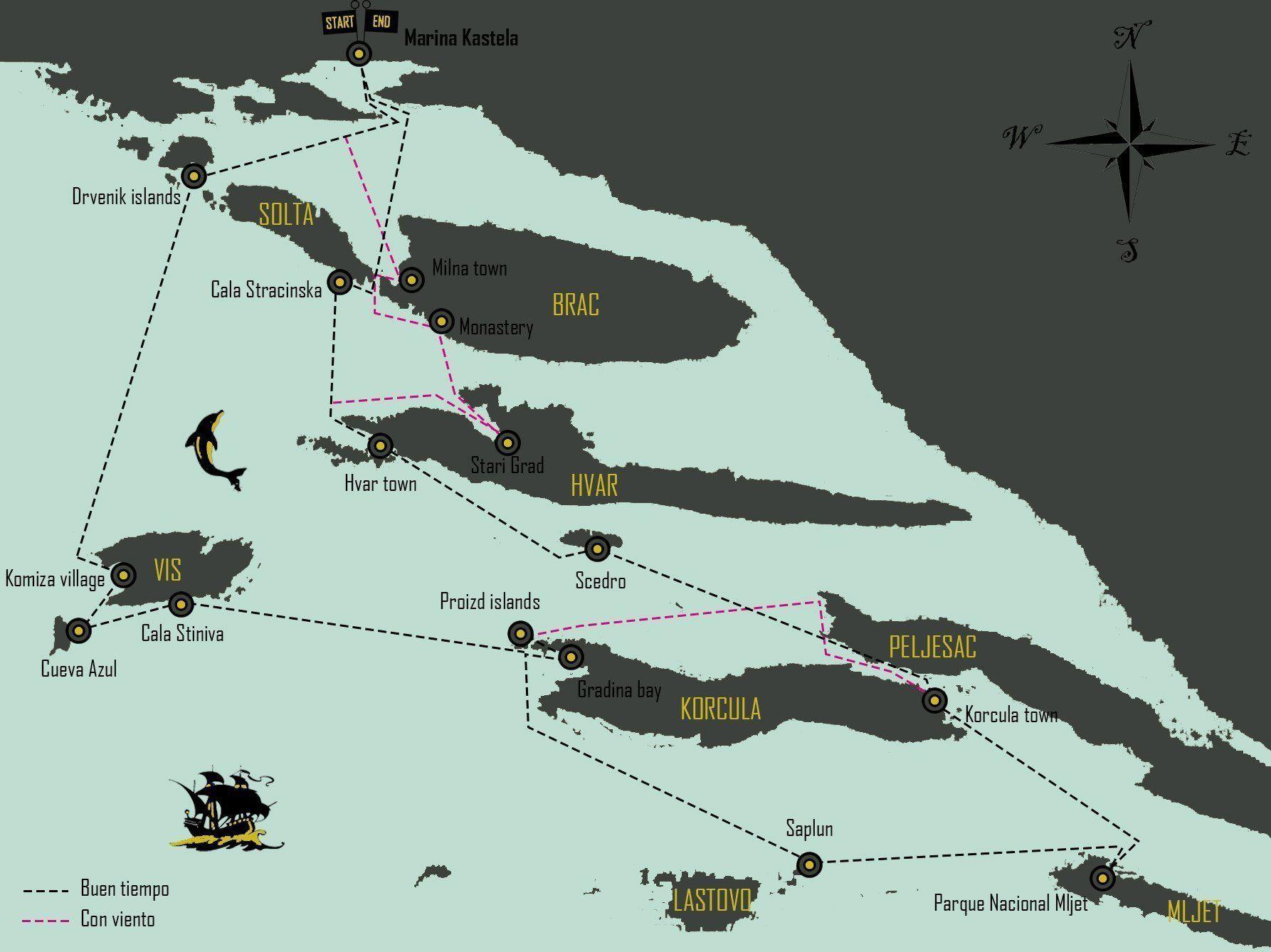 mapa-travesia-velero-croacia-islas-dalmatas